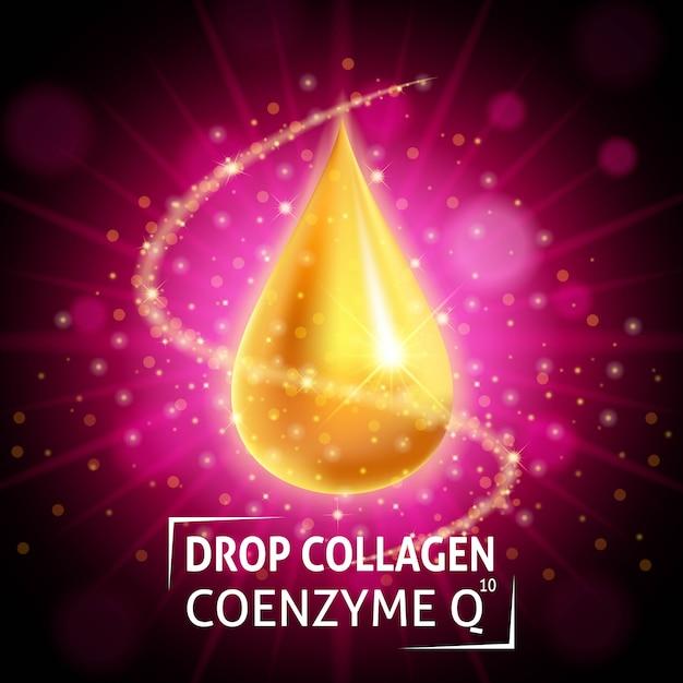 Serenz Collagen Coenzyme, Realistyczna Złota Kropla Premium Wektorów