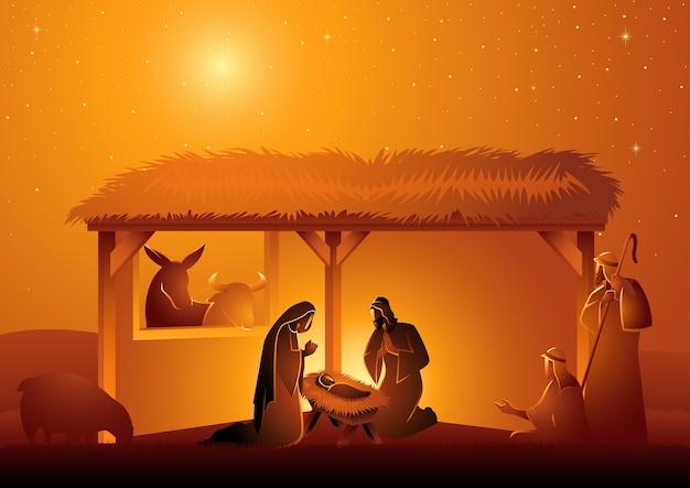 Seria Ilustracji Biblijnych, Szopka świętej Rodziny W Stajni. Motyw Bożego Narodzenia Premium Wektorów