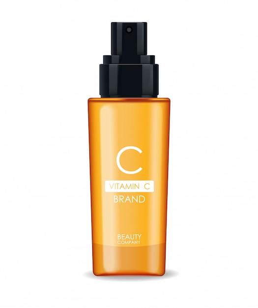 Serum Witaminowe C, Firma Kosmetyczna, Butelka Do Pielęgnacji Skóry, Realistyczne Opakowanie I świeży Cytrus, Esencja Zabiegowa, Kosmetyki Upiększające Premium Wektorów