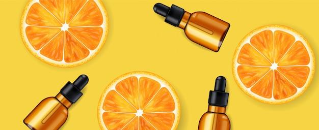 Serum Witaminy C, Firma Kosmetyczna, Butelka Do Pielęgnacji Skóry, Realistyczne Opakowanie I świeży Cytrus, Esencja Zabiegowa, Kosmetyki Upiększające Premium Wektorów