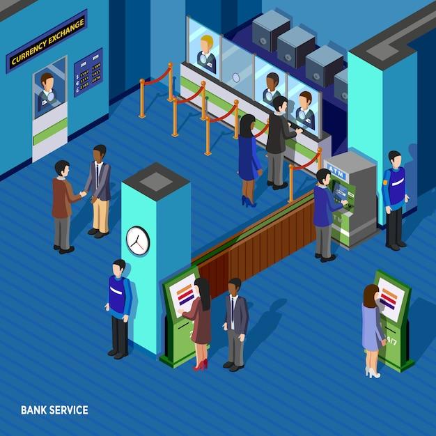 Serwis bankowy izometryczny ilustracja Darmowych Wektorów