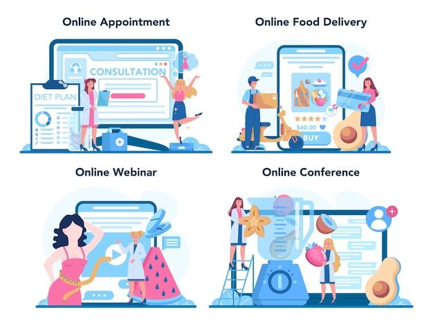Serwis Internetowy Lub Platforma żywieniowa Zestaw Ilustracji Premium Wektorów