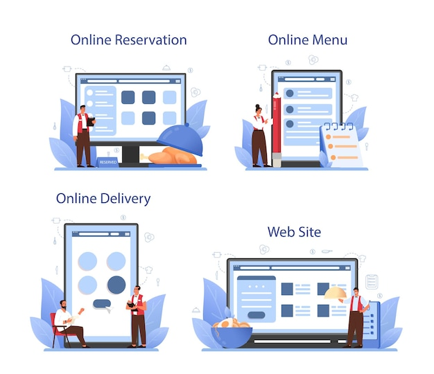 Serwis Kelnerski Lub Zestaw Platformowy. Obsługa Restauracji W Mundurze, Obsługa Cateringowa. Premium Wektorów