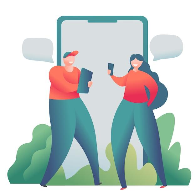 Serwis randkowy online, koncepcja relacji wirtualnych. mężczyzna i kobieta rozmawiają online. Premium Wektorów