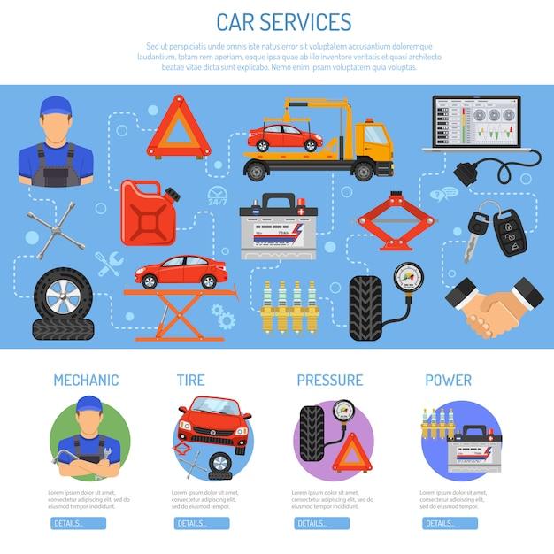 Serwis Samochodowy Infografika Premium Wektorów