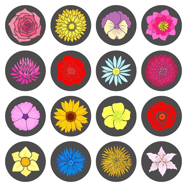 Set Abstrakcjonistyczni Płascy Kwiaty Premium Wektorów