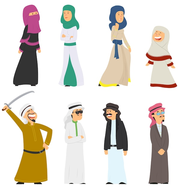 Set Arabscy Ludzie W Krajowych Kostiumach Odizolowywających Na Bielu. Premium Wektorów