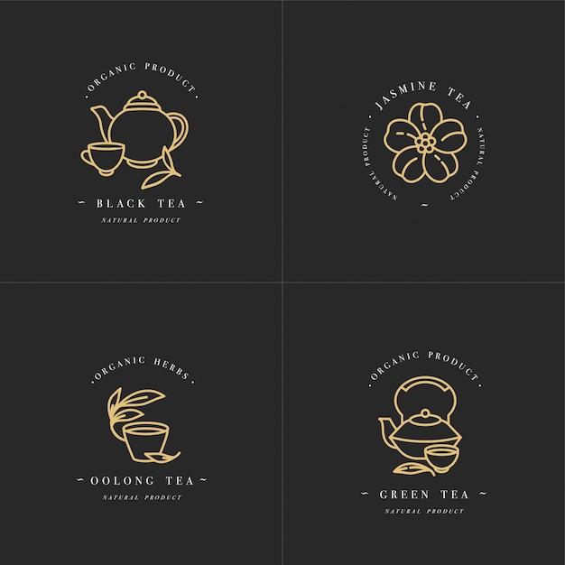 Set Design Złote Szablony Logo I Emblematy - Ekologiczne Zioła I Herbaty. Różne Ikony Herbat - Jaśminowa, Czarna, Zielona I Oolong. Logo W Modnym Stylu Liniowym Na Białym Tle. Premium Wektorów