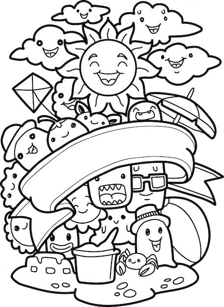 Set Doodle śliczni Potwory Z Lato Elementami Premium Wektorów
