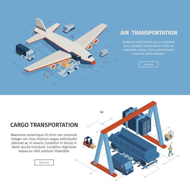 Set Dwa Horyzontalnego Isometric Logistyka Sztandaru Z Klikalnym Czytaj Więcej Guzików Editable Tekst I Wizerunku Wektoru Ilustracja Darmowych Wektorów