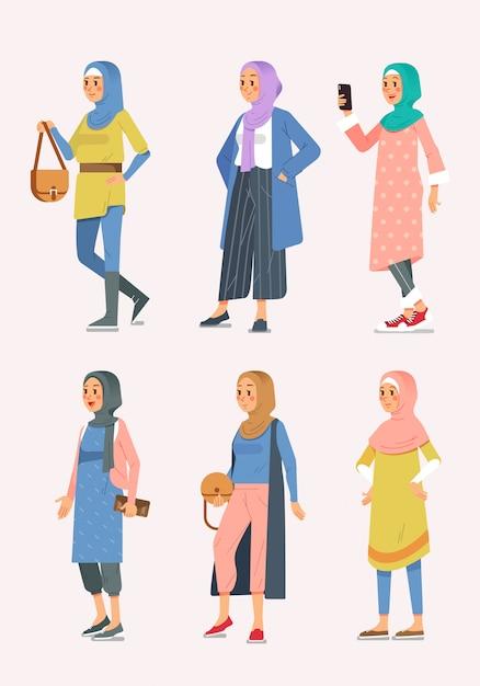 Set Isometric Kobiety Hijab Moda Z Różnorodnym Stylem, Muzułmańskie Kobiety Ilustracyjne Premium Wektorów