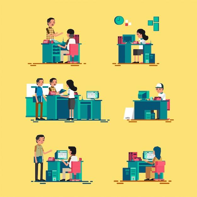 Set isometric ludzie pracuje w biurze, pracuje na komputerze i słuzyć klientowi, ilustracyjny frontowy widok i tylny widok Premium Wektorów