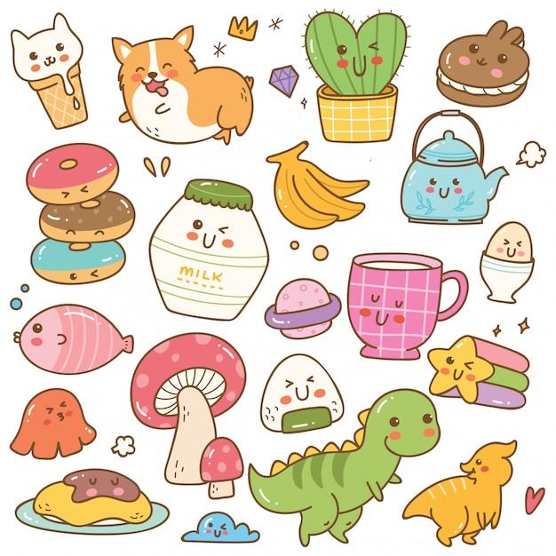 Set kawaii doodle wektoru ilustracja Premium Wektorów