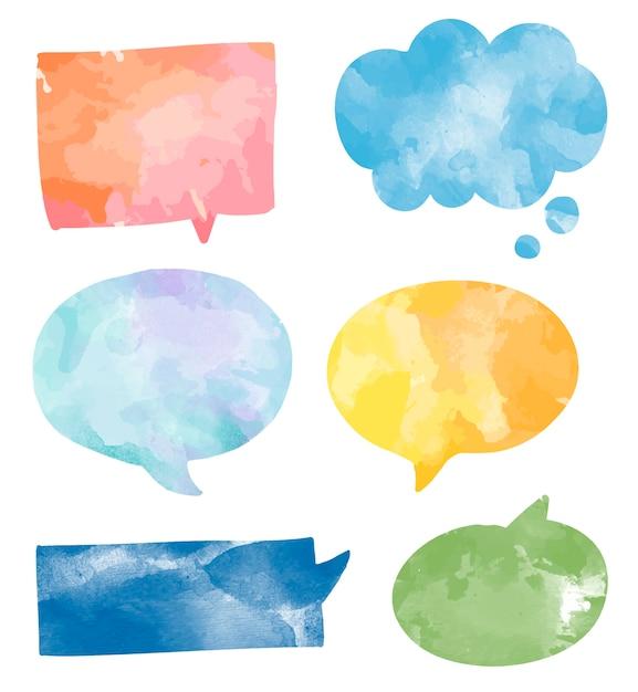 Set kolorowi akwareli mowy bąble wektorowi Darmowych Wektorów
