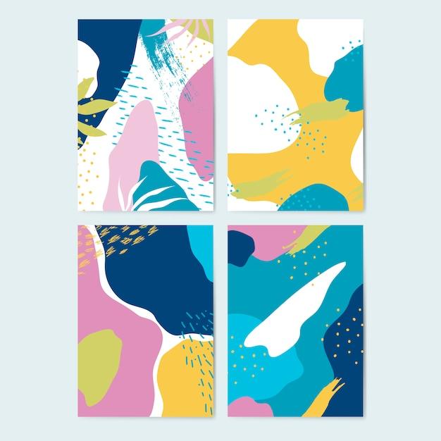 Set kolorowi memphis stylu tła wektorowi Darmowych Wektorów