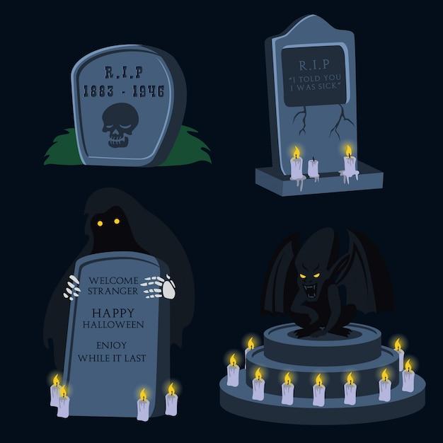 Set Kreskówki Halloween Nagrobek Premium Wektorów