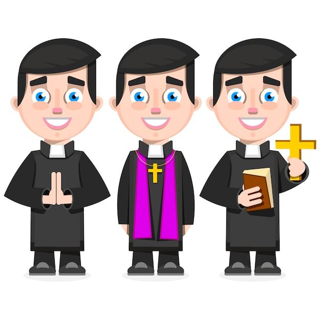 Set ksiądz katolicki w kreskówki stylowej wektorowej ilustraci Premium Wektorów