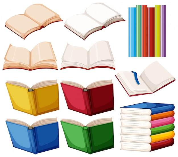 Set książka na białym tle Darmowych Wektorów