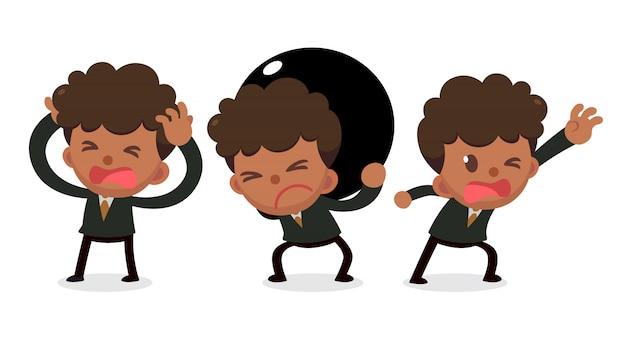 Set Malutki Biznesmen Charakter W Kłopotach. Potrzebujesz Pomocy. Premium Wektorów