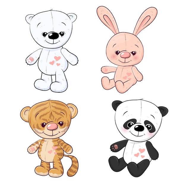 Set mały tygrysi lisiątko tygrysi lisiątko i panda. rysunek odręczny. ilustracji wektorowych Premium Wektorów