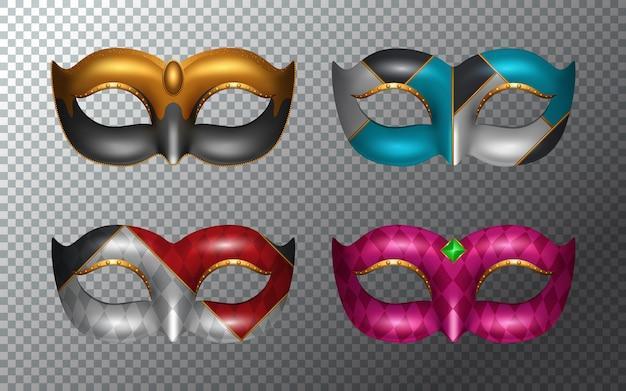 Set Mardi Gras Maski Odizolowywać Na Białym Tle Premium Wektorów