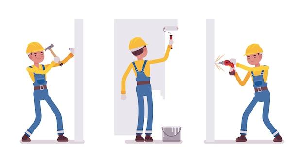Set męski pracownik pracuje z ścianami Premium Wektorów
