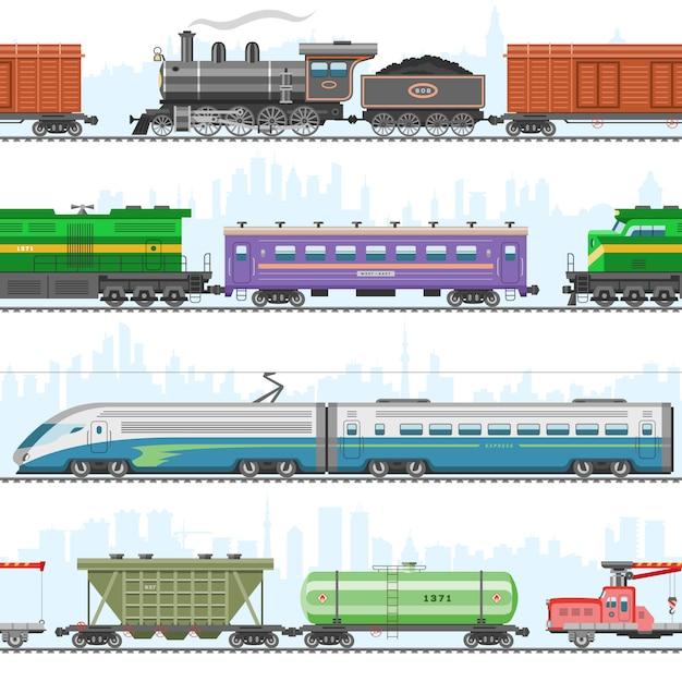 Set Nowożytny I Retro Kolejowy Transport, Lokomotywy, Prędkość Pociągi Pasażerscy, Wagony Na Białej Ilustraci. Premium Wektorów