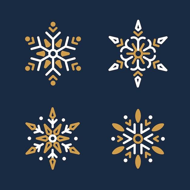 Set płatka śniegu bożych narodzeń projekta wektor Darmowych Wektorów