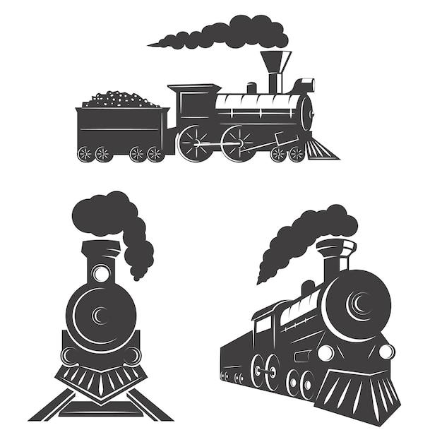 Set Pociąg Ikony Na Białym Tle. Elementy Logo, Etykiety, Godła, Znaku, Znaku Marki. Premium Wektorów