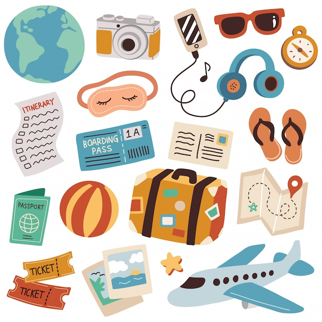 Set Podróży Doodle Wektoru Ilustracja Premium Wektorów
