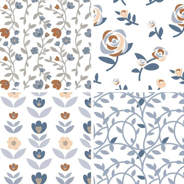 Set ręki rysować róże i rośliny ilustracyjni Darmowych Wektorów