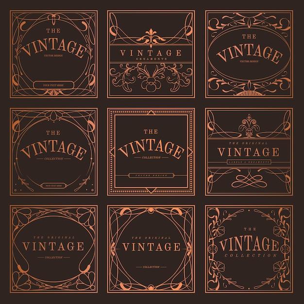 Set rocznik brązowe sztuki nouveau odznaki wektorowe Darmowych Wektorów