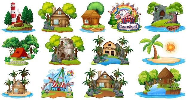 Set Różni Bangalows, Wyspa Plażowy Temat I Park Rozrywki Na Białym Tle Premium Wektorów