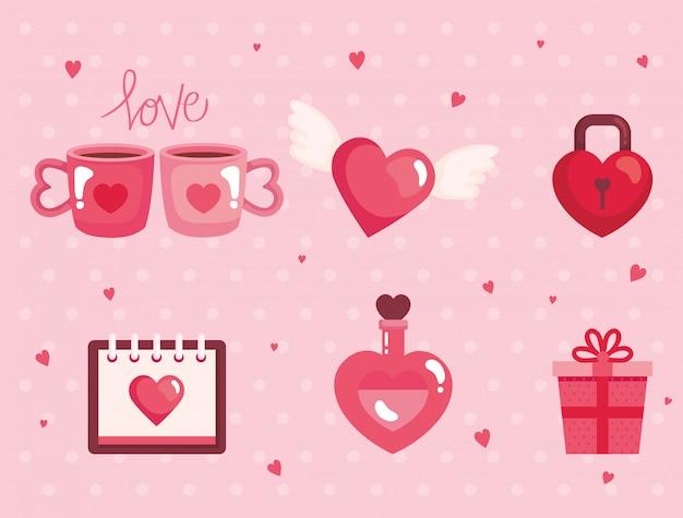Set śliczne Ikony Dla Szczęśliwej Walentynka Dnia Ilustraci Premium Wektorów
