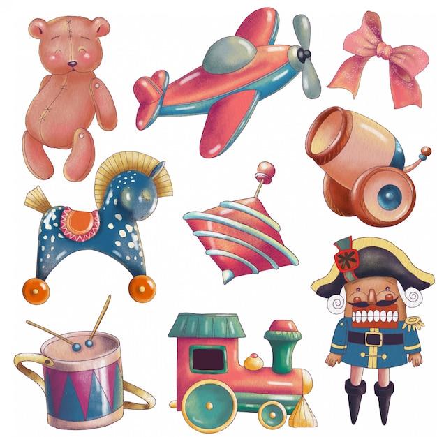 Set śliczne kreskówki rocznika zabawki Premium Wektorów