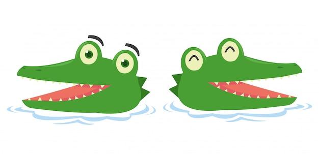 Set śliczny krokodyl w jeziorze Premium Wektorów