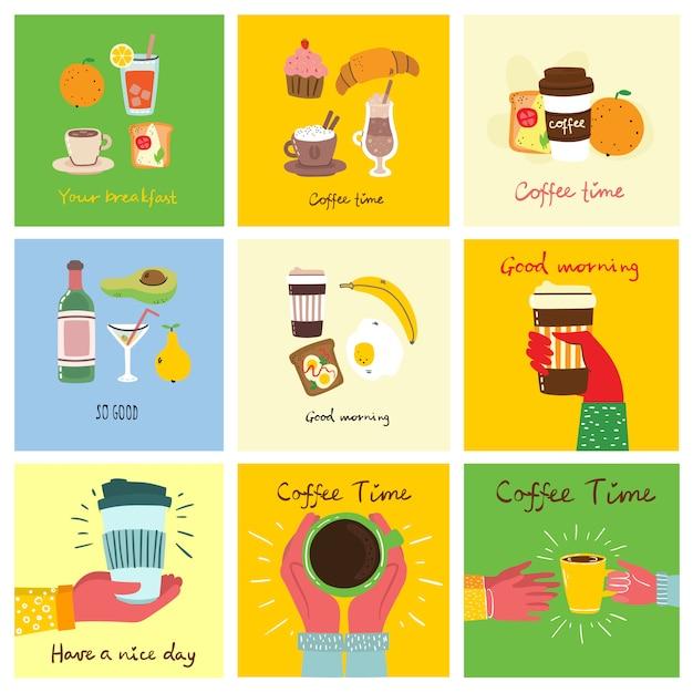 Set śniadaniowe Jedzenie Karty Z Ręka Pisać Tekstem, Prosta Płaska Kolorowa Ciepła Ilustracja Premium Wektorów