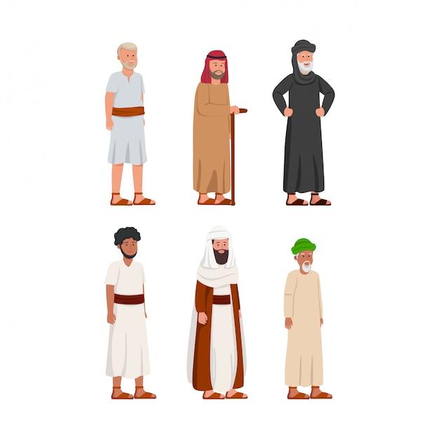 Set stary antyczny arabski mężczyzna charakter Premium Wektorów