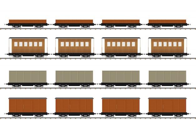 Set Taborowa Furgon Ilustracja Odizolowywająca Na Białym Tle Premium Wektorów