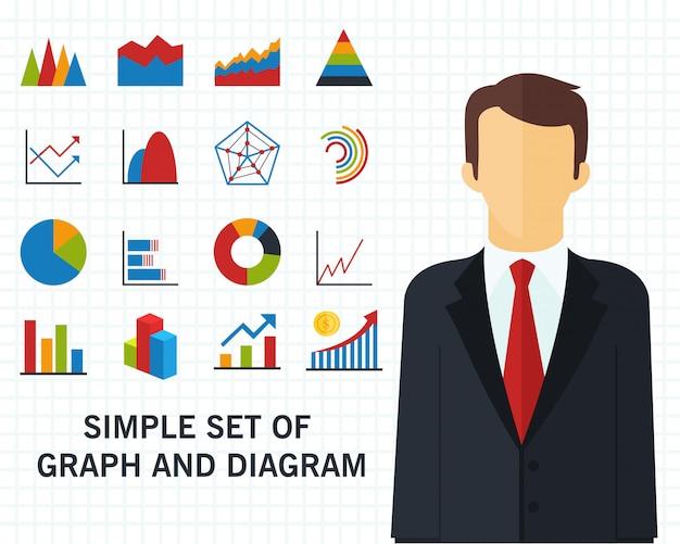 Set wykresu i diagrama pojęcia tło Premium Wektorów