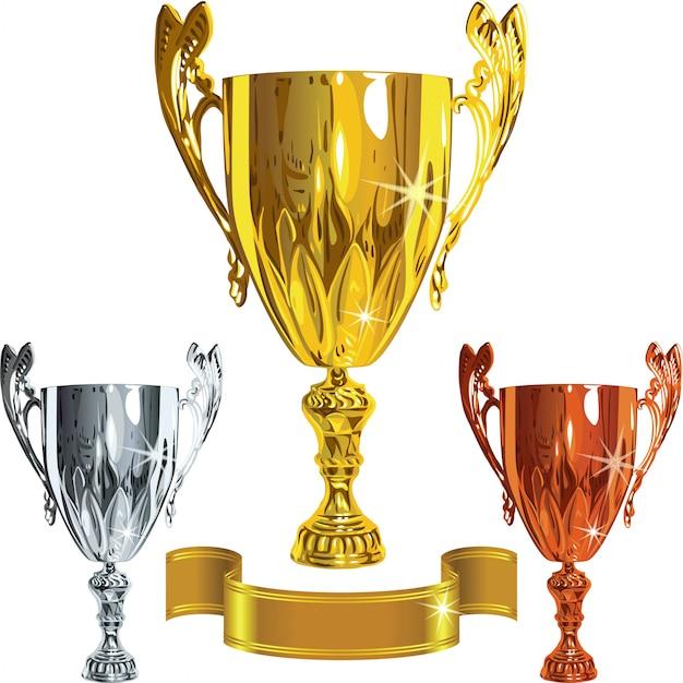 Set Zwycięski Sukces Złoty, Srebrny, Brązowy Puchar Premium Wektorów