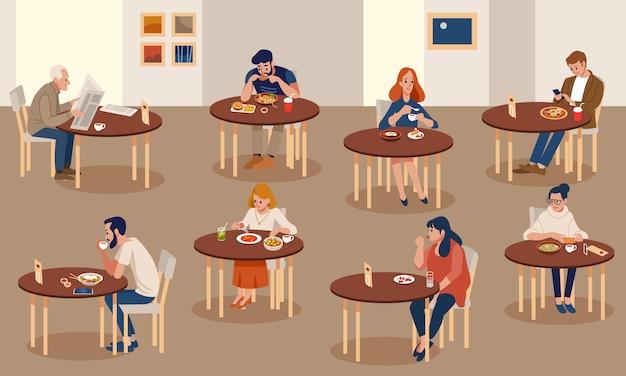 Setmen I Kobiety Próbują Smacznego Jedzenia W Restauracji Lub Kawiarni. Premium Wektorów