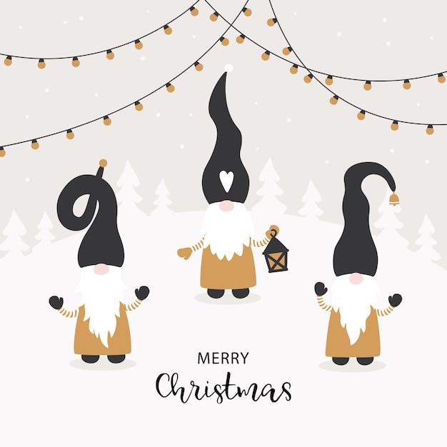Sezon pozdrowienia. wektorowa kartka świąteczna z uroczymi małymi gnomami. Premium Wektorów
