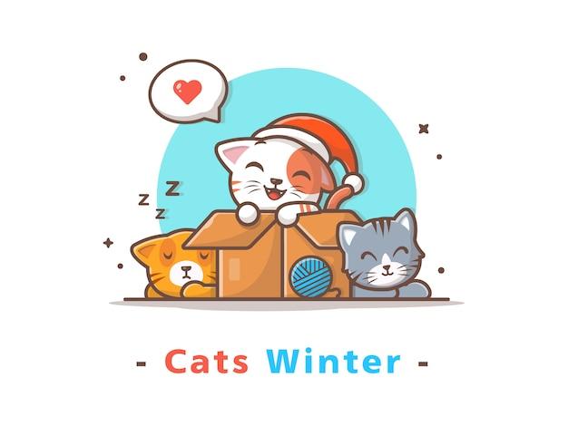 Sezon Zimowy Słodkie Koty Premium Wektorów