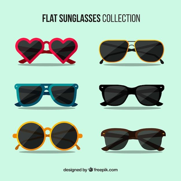 Sezonowa Kolekcja Okularów Przeciwsłonecznych W Płaskim Stylu Darmowych Wektorów