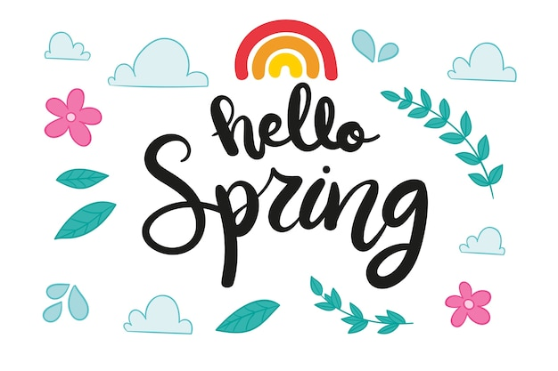 Sezonowe Powitanie Wiosny Napis Darmowych Wektorów