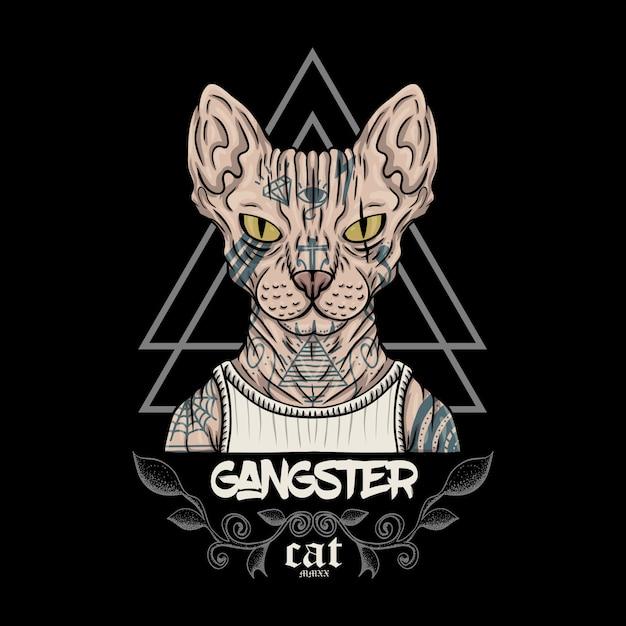 Sfinks Kota Gangstera Ilustracja Premium Wektorów