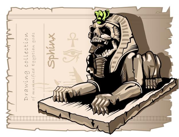 Sfinks, Posąg Psa Z Ludzką Czaszką Premium Wektorów