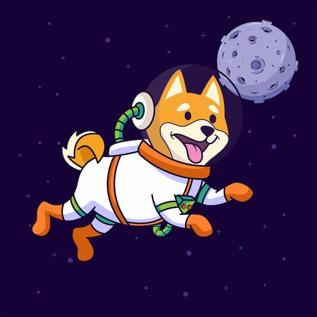 Shiba Inu Pies Latający W Przestrzeni Premium Wektorów