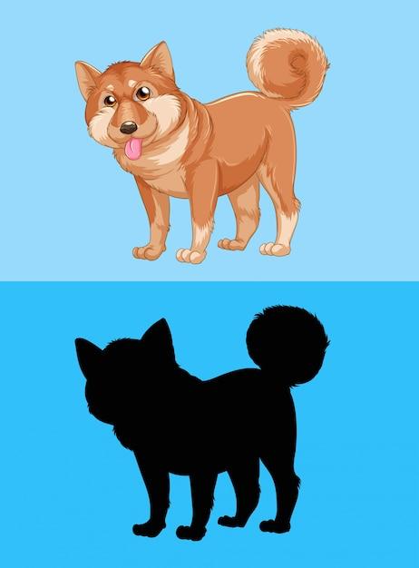 Shiba Inu Pies Na Niebieskim Ekranie Darmowych Wektorów